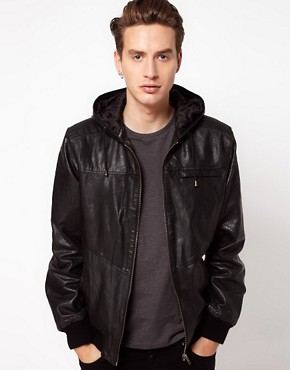 Image 1 ofCode Hooded Leather Jacket