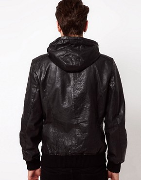 Image 2 ofCode Hooded Leather Jacket