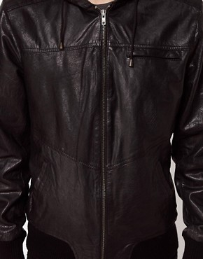 Image 3 ofCode Hooded Leather Jacket
