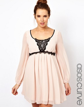 Image 1 ofASOS CURVE Dress With Embellished Lace Trim