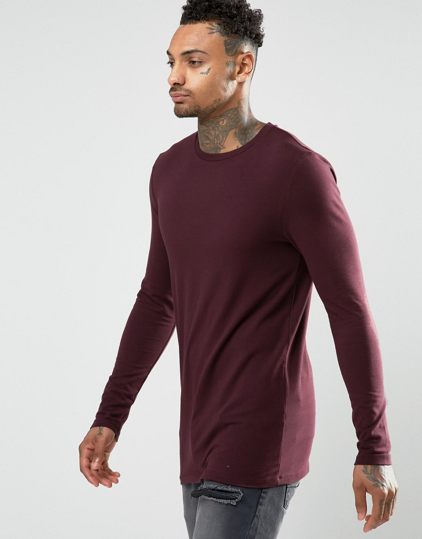 ASOS Longline Muscle Long Sleeve T-Shirt In Oxblood - Red