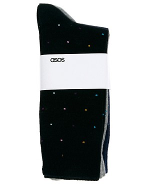 Image 3 ofASOS 3 Pack Multi Spot Socks