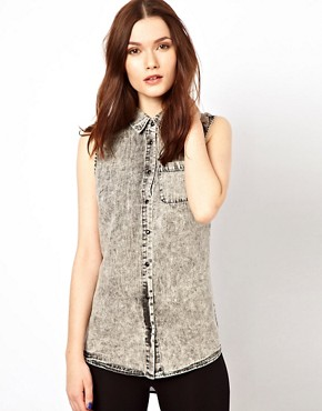 Image 1 ofWarehouse Western Shirt With Chiffon Back