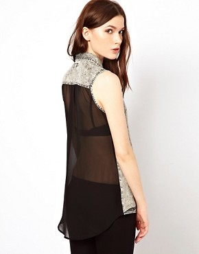 Image 2 ofWarehouse Western Shirt With Chiffon Back