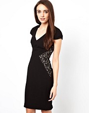 Warehouse Pencil Dress With Lace Panels