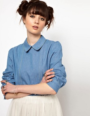 Image 1 ofThe WhitePepper Denim Collar Blouse