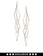 River Island Geometric Diamond Drop Earrings