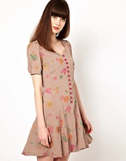 Nishe Sweetheart Dress with Floral Embroidery