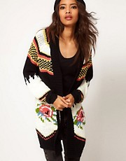 ASOS Premium Hand Knit Cardigan With Floral Jaquard