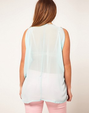 Image 2 ofASOS CURVE Exclusive Top With Chiffon Back