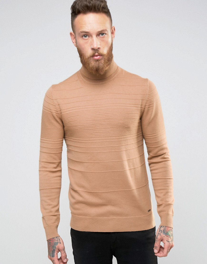 HUGO by Hugo Boss Roll Neck Sweater Texture Stripe - Beige