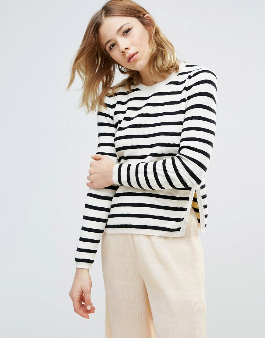 Ganni Anna Long Sleeved Stripe Ribbed Sweater - White
