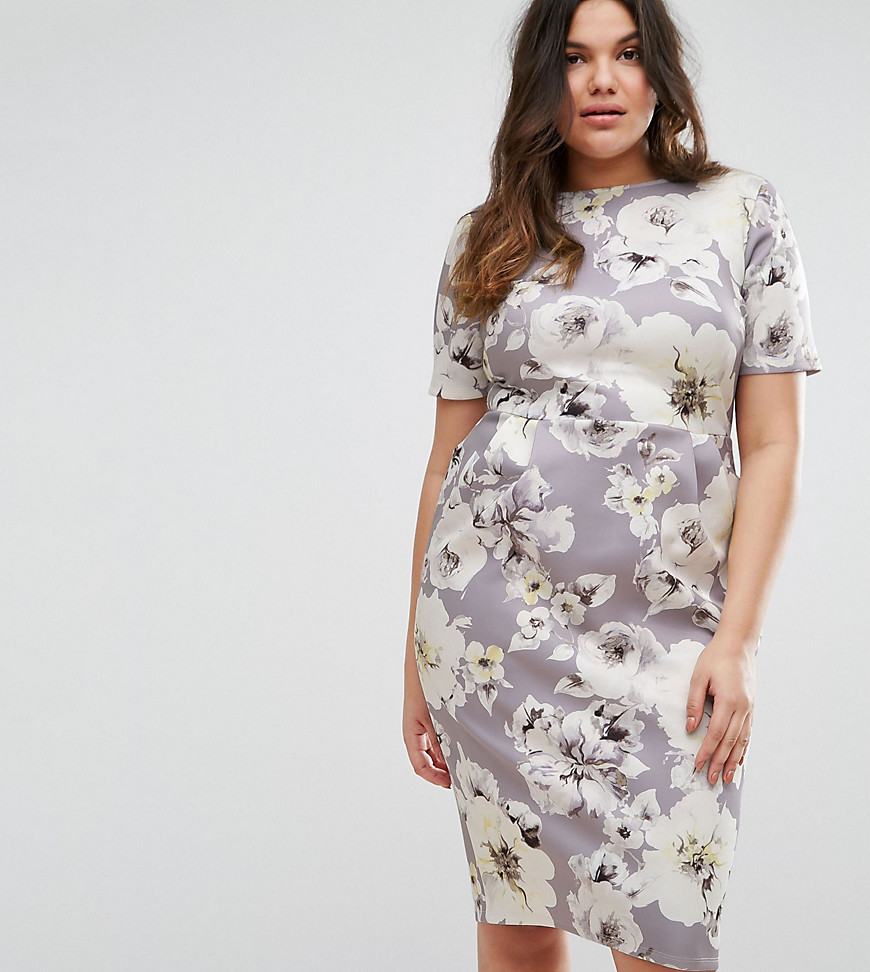 ASOS CURVE Scuba Wiggle Dress In Floral Print