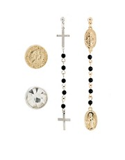 ASOS Mismatch Rosary Coin Earring Multipack