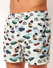 River Island Car Print Swimshorts
