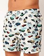 Image 1 ofRiver Island Car Print Swimshorts