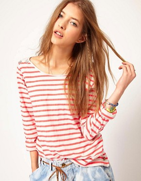 Image 1 ofMaison Scotch Breton T-Shirt in Fleuro Stripe
