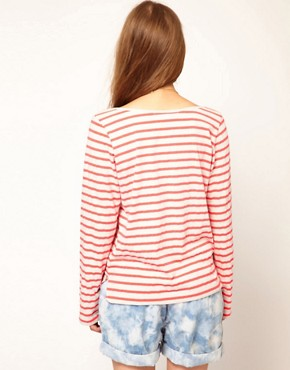 Image 2 ofMaison Scotch Breton T-Shirt in Fleuro Stripe
