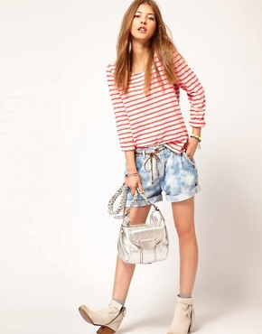 Image 4 ofMaison Scotch Breton T-Shirt in Fleuro Stripe