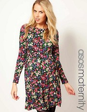 ASOS Maternity Skater Dress In Dark Floral