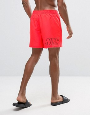 Nike Swim Shorts With Back Logo Print In Red