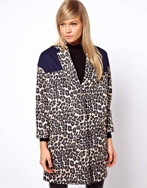 Image 1 ofASOS Blocked Cheetah Coat