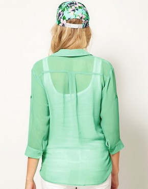 Image 2 of ASOS Maternity Shirt With Roll Sleeve