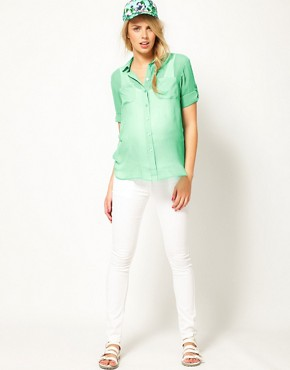 Image 4 of ASOS Maternity Shirt With Roll Sleeve