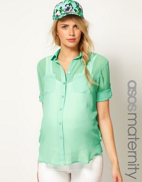 Image 1 of ASOS Maternity Shirt With Roll Sleeve