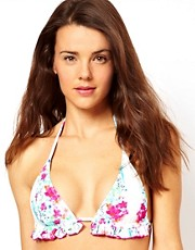 Playful Promises Digital Hawaii Print Frill Triangle Bikini Top
