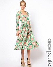 ASOS PETITE Midi Skater Dress In Pixelated Floral Print