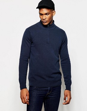 United Colors of Benetton 100 Merino Wool Jumper with High Zip Neck