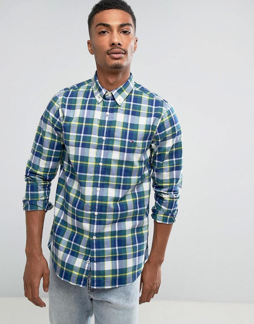 Tommy Hilfiger Ifan Check Shirt Slim Fit in Blue - 902 mediterranea