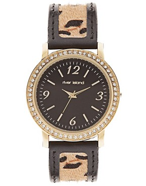 Image 1 ofRiver Island Watch With Leopard Print Strap