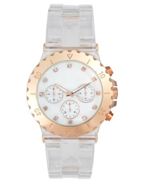 Image 1 ofASOS Chunky Clear Rose Gold Watch