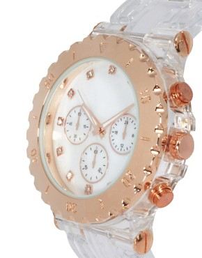 Image 3 ofASOS Chunky Clear Rose Gold Watch