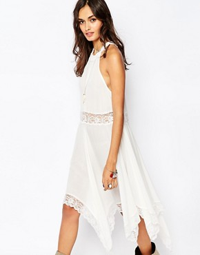 Free People Midi Dress with Lace Waist And Hem
