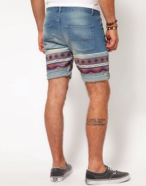 Image 2 ofASOS Skinny Denim Short With Aztec Print