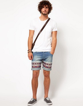 Image 4 ofASOS Skinny Denim Short With Aztec Print