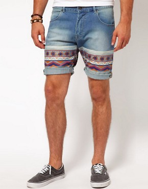 Image 1 ofASOS Skinny Denim Short With Aztec Print
