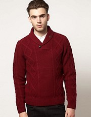 Farah Vintage Chunky Sweater with Shawl Neck