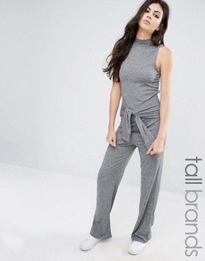 Noisy May Tall Roll Neck Sleeveless Jersey Jumpsuit With Tie Waist