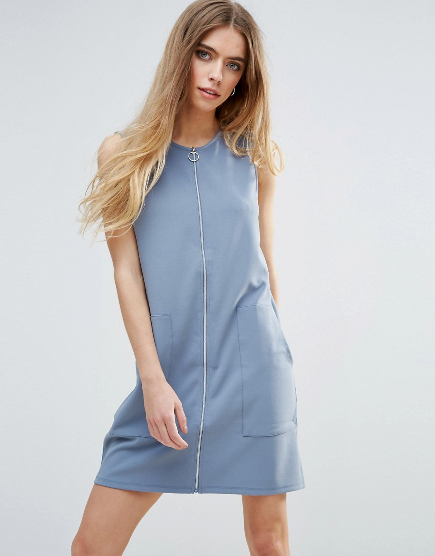 First & I Zip Through Jersey Dress - Blue