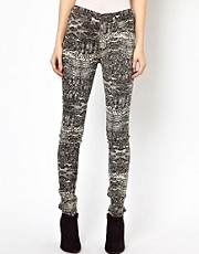 Dr Denim Plenty Snake Printed High Waist Jeggings