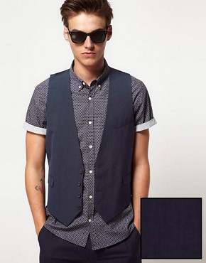 ASOS Slim Fit Waistcoat In Blue