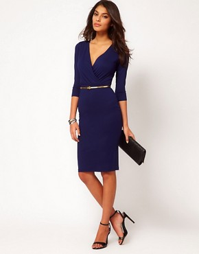 Image 4 ofASOS Pencil Dress With Wrap Front