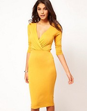 ASOS Pencil Dress With Wrap Front