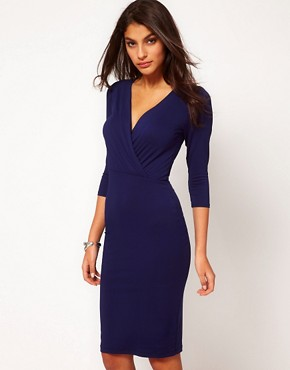 Image 1 ofASOS Pencil Dress With Wrap Front