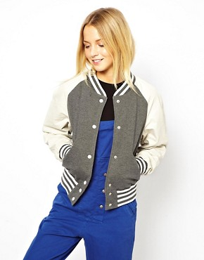 Image 1 ofASOS Varsity Sweat Jacket With Leather Sleeves