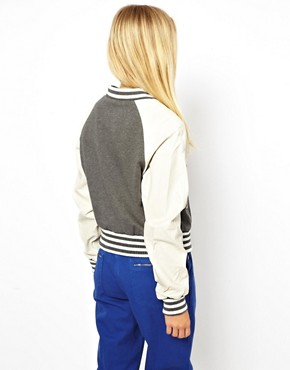 Image 2 ofASOS Varsity Sweat Jacket With Leather Sleeves